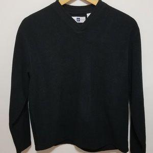 EUC Gap Men's Small Black Fleece V-Neck Sweater